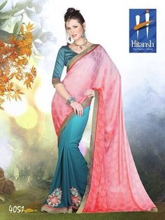 Saree :: Pink and Turquoise Blue Saree with Turquoise Blouse Blue Saree, Aqua, Turquoise, Chiffon, Sari, Indian, Stylists, Blouse, Designer Sarees