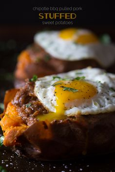 These chipotle bbq pulled pork stuffed sweet potatoes are packed full of spicy slow cooker bbq pulled pork and topped with a runny fried egg.