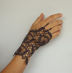 Guipure Lace Fingerless Wrist Charm Cuff Charcoal by mammamiaeme, $16.00