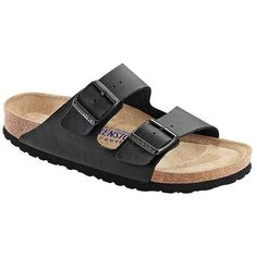 Birkenstock Women's Arizona Soft Footbed Sandal ($110) ❤ liked on Polyvore featuring shoes, sandals, cork footbed sandals, mirror shoes, shock absorbing shoes, traction shoes and special occasion shoes