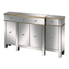 Sterling Bordeaux Buffet Server Contemporary Mirror Finish w/ Drawers