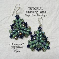 PDF Tutorial Earrings, SuperDuo Tutorial, Seed Bead Earrings Tutorial, Earring Pattern Instructions, Beadwork Tutorial, Beadwoven Earrings by mybeads4you on Etsy https://www.etsy.com/listing/165722679/pdf-tutorial-earrings-superduo-tutorial