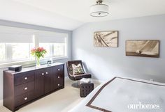 The master bedroom, painted Benjamin Moore's Metallic Silver, is nestled into a shed dormer that overlooks the back yard and gardens. - See more at: http://www.ourhomes.ca/articles/build/article/lshaped-home-designed-around-mature-maple-tree?full=true#sthash.cCLtDSjc.dpuf