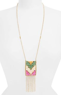Panacea Chevron Beaded Pendant Necklace available at #Nordstrom