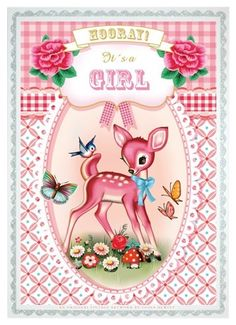 ~Wu and Wu postcards-Fiona Hewitt voor Cotton Candy chronicles via Birdyblues~ Photo Vintage, Vintage Images, Vintage Posters, Bambi, Deer Art, Vintage Drawing, Vintage Nursery, Graffiti, Vintage Birthday