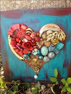 Heart art. Junk jewels.