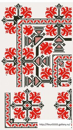 Red and black border pattern Cross Stitch Borders, Cross Stitch Charts, Cross Stitch Designs, Cross Stitching, Cross Stitch Patterns, Hungarian Embroidery, Folk Embroidery, Cross Stitch Embroidery, Embroidery Patterns