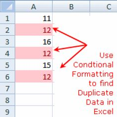 Find Duplicate Data with Conditional Formatting - Excel Conditional Formatting