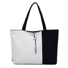 Women Canvas Contrast Color Joint Shoulder Bags Handbag Totes