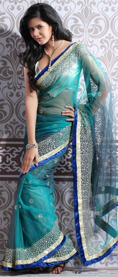 Aqua #Blue Soft Net #Saree with Blouse @ $180.02