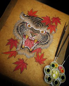 Quick one after tattooing tonight on some hand made Tibetan paper. Available as tattoo at @thebluebloodstudios email me rorypickersgill@hotmail.com Japanese Tiger Tattoo, Japanese Tattoo Designs, Tribal Dragon Tattoos, Japanese Dragon Tattoos, Jaguar Tattoo, Tiger Tattoo Design, Hand Tattoos, Tattoo Ink, Arm Tattoo