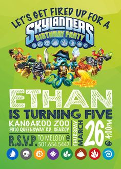 Skylanders Birthday Invitation / Skylanders by EmryPRINTS on Etsy