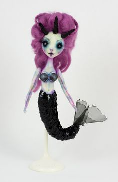 OOAK Mermaid Hand Sewn Felt Doll with Stand by KookyMoon on Etsy https://www.etsy.com/listing/266953097/ooak-mermaid-hand-sewn-felt-doll-with
