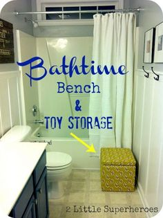 storage cube makeover using just a yard of fabric and staple gun, bathroom ideas, cleaning tips, painted furniture, Bench for when we bath the kids and doubles as bath toy storage Bath Toy Storage, Kids Storage, Cube Storage, Cabinet Storage, Towel Storage, Cheap Storage, Towel Hooks, Extra Storage, Creative Bathroom Storage Ideas