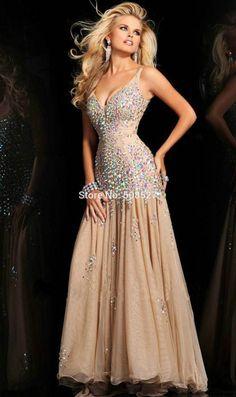 b7932a8df0840 Pas cher 2014 New Custom Made Champagne Satin Tulle perles diamant Sexy robe  de soirée robe