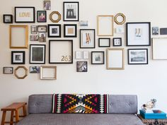 I love this approach - and the wall. Makes me want to go shopping for a new couch right away.