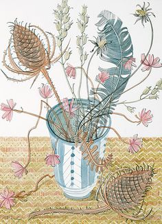 lovely lovely Angie Lewin watercolours > alewin rye pot with teasels 287mm 394mm