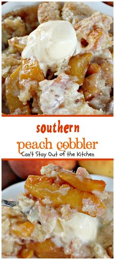 This lovely cobbler is one of the best you'll ever eat! Peaches are spiced up with cinnamon and nutmeg and topped with an amazing topping then sprinkled with sugar. Serve with ice cream for a wonderful family dessert. Canned Peach Cobbler Recipe, Can Peach Cobbler, Gluten Free Peach Cobbler, Southern Peach Cobbler, Figgy Pudding, Canned Peaches, Glass Baking Dish, Almond Recipes, Dessert Recipes