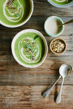 my darling lemon thyme: broccoli soup with tahini, lemon and pine nut za'atar