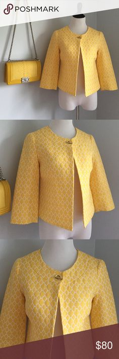 NEW!! Yellow Cropped Sleeve Blazer NEW without tags. Yellow printed blazer. Fully lined with a single chain clasp closure. Labeled a size XS, but is oversized, so it could also fit a small or a smaller size med. Jackets & Coats Blazers