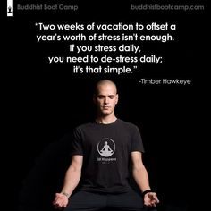 """""""Two weeks of vacation to offset a year's worth of stress isn't enough. If you stress daily, you need to de-stress daily; it's that simple"""" - Timber Hawkeye"""