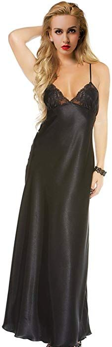 ETAOLINE Women Satin Nightgown Lace Lingerie Trimmed Full Length Slip Dress  - Plus Size 683406cdf