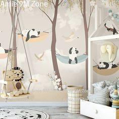 Tuya art papier peint pour chambre d'enfant de Bande Dessinée de panda jouer jardin pour la chambre d'enfant murale fonds d'écran bébé chambre mur décor mat finition