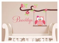 Owl Decal - Monogram Childrens Wall Decals - Nursery Wall Decals -Vinyl Lettering Wall Art - great for a baby nursery or girls bedroom. $35.00, via Etsy.