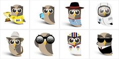 Hootsuite: Variations on the mascot.