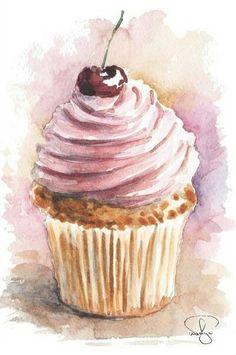 #акварель #рисунок #пирожное #вишня #еда #вкусно