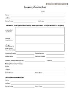 Emergency Information Sheet
