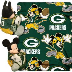 "Green Bay Packers Mascot | Disney NFL Hugger Pillow and 40"" x 50"" Throw Set, Green Bay Packers"