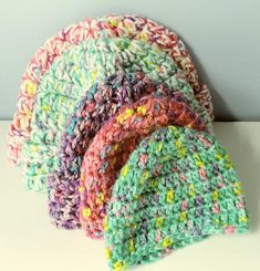 Crochet Beanie Multi-Colored infant/toddler baby hats