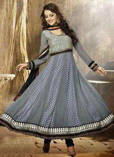 Desirable Grey Georgette Anarkali Suit, Product Code :9427, shop now http://www.sareesaga.com/desirable-grey-georgette-anarkali-suit-9427  Email :support@sareesaga.com What's App or Call : +91-9825192886