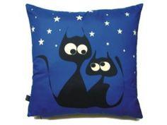 Polštář Gaul s kočkou 10 40x40 cm, modrá, Gaul designs