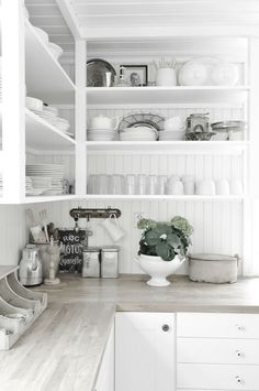 keeping the open cupboards all white makes everything unified and clean