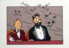 Les sept boules de cristal - Tintin, le Capitaine Haddock et Milou au concert.