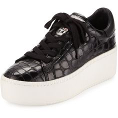 Ash Cult Crocodile-Embossed Platform Sneaker ($139) ❤ liked on Polyvore featuring shoes, sneakers, black trainers, black shoes, black lace up shoes, crocs sneakers and black sneakers