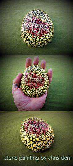 mantala dot painting stone (hope)