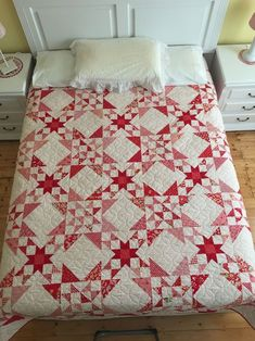 Wish Upon A Star PDF Pattern - x - I have always loved red/white quilts, stars quilts and scrappy quilts, so I have combined three of. Lynda in Wonderland: 2017 Finishes Quilt Inspiration: Butterfly quilts (and free block pattern Star Quilt Blocks, Star Quilt Patterns, Star Quilts, Vintage Quilts Patterns, Doll Patterns, Two Color Quilts, Blue Quilts, Patchwork Quilting, Scrappy Quilts
