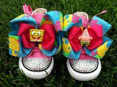SPONGEBOB SQUAREPANTS SHOES - Spongebob Birthday - Spongebob Party - Spongebob bows - Sparkle Toes - Pink Converse - Infant/Toddler/Youth