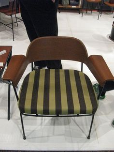 MCM chair with striped fabric