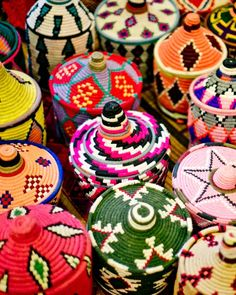 Colorful moroccan woven baskets / Tory Burch Blog: Pinterest: Marrakech Express