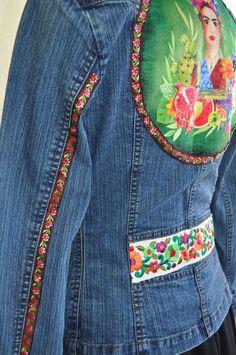 Couture, Denim, Jackets, Fashion, Frida Kahlo, Denim Bag, Jean Jacket Vest, Fashion Styles, Down Jackets