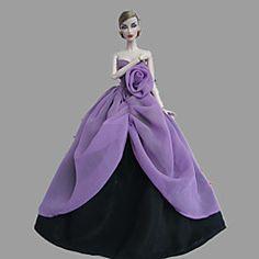 Paars / Zwart-Feestje & Avond-Barbie Doll- vanSatijn / Kant-Jurken…