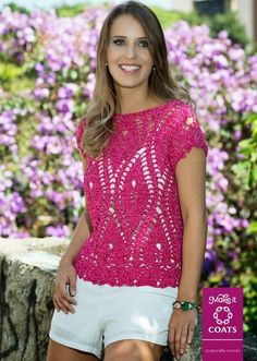 Crochetemoda: Blusa de Crochet Rosa