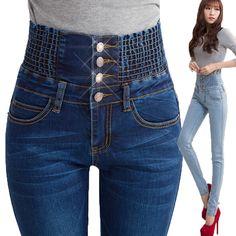 26-40 Skinny Jeans High waist jeans woman 2016 femme denim pants Blue Slim Pencil jean Button Trousers pantalones vaqueros mujer