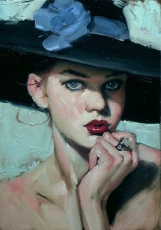 """""""Brimmed Hat"""" - Malcolm T. Liepke (b. 1953), oil on canvas, 2014 {figurative #impressionist art beautiful female head red lipstick large eyes woman face portrait painting #loveart}"""