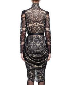 W0D2C Alexander McQueen Long-Sleeve Scalloped Paisley Lace Wrap Dress, Black