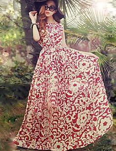 női+kék+/+piros+kerek+nyomtatási+sifon+strand+maxi+ruha+–+USD+$+12.99